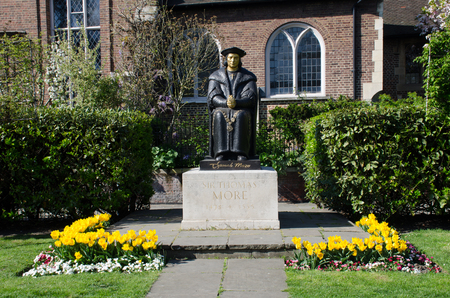 Statue of Sir Thomas Moore at Chelsea Old church London