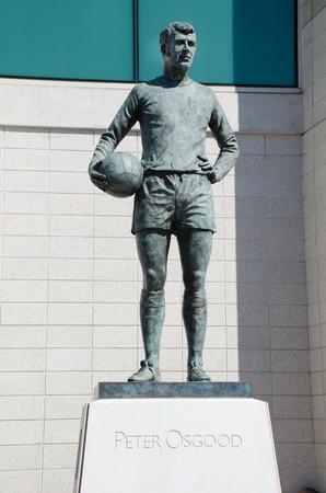 Chelsea London United Kingdom - 8 April 2017: Statue of Peter Osgood Chelsea FC legend outside Stamford Bridge Ground
