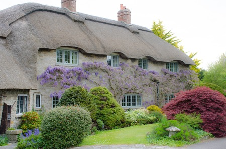 Country cottage with wisteria on walls Stock Photo