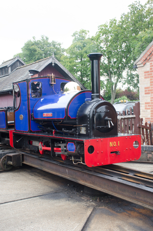Norfolk  United Kingdom   August  21 2017: Narrow gauge railway train on turntable Editorial