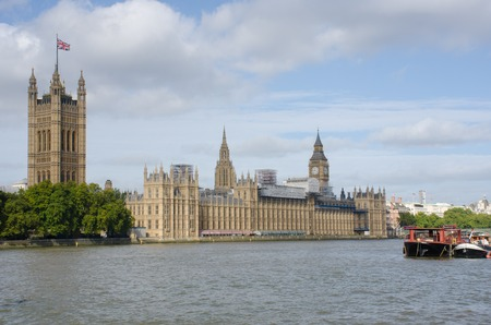 Houses of Parliament with River Thames Stock Photo