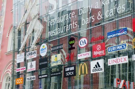 Prague  Czech Republic  -5 December 2017: Shopping signs of major internartional brands at Prague shopping centre