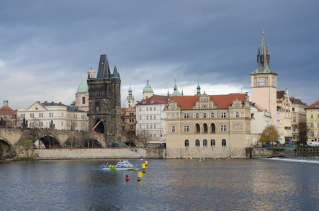 Prague  Czech Republic  -5 December 2017: Charles Bridge Prague with Police boat