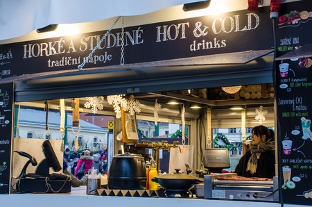 Prague  Czech Republic  -5 December 2017: Food stall in  Old Town Hall square for Christmas Market