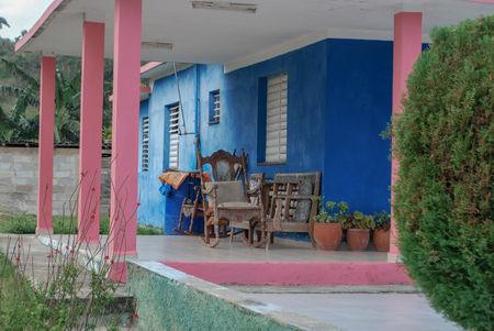 Colorful Outdoor Patio in Cuba Stock Photo