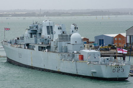 Portsmouth Uk 4 April 2018:HMS Bristol Royal Navy Destrroyer D23 in Portsmouth Harbour Editorial