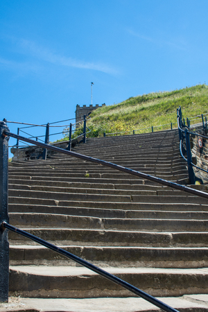 View up the 199 steps to Whitby abbey Stock Photo
