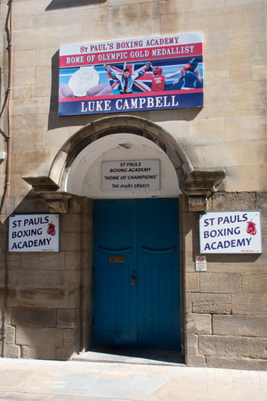Hull Yorkshire UK  - 27 June 2018:  Sign over boxing club where Olympian Luke Cambell trained
