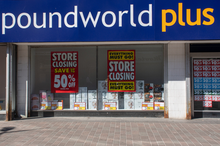 Hull Yorkshire UK  - 27 June 2018: Poundworld plus shop sign 에디토리얼