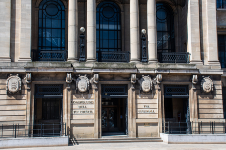Hull Yorkshire UK  - 27 June 2018: Frontage of Guildhall centre of Local Government for Hull City Council Redactioneel