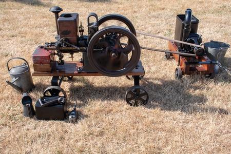 Minature steam engine on the  ground