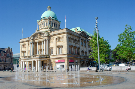 Hull Yorkshire UK - 27 June 2018: Hull City Hall with fountain in Foreground Editorial