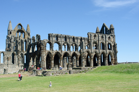 Whitby Yorkshire UK  - 25 June 2018: Whitby Abbey on  summers day