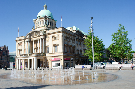 Hull Yorkshire UK  - 27 June 2018: Hull City Hall with fountain in front Editorial