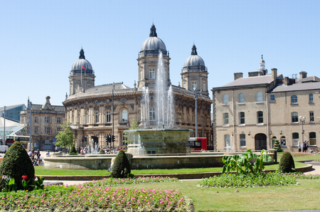 Hull Yorkshire UK - 27 June 2018: Hull maritime museum with the town park in foreground