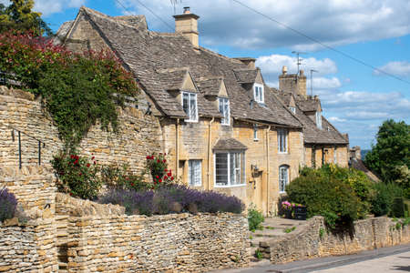 Row of Country cottages in village of Bourton on the Hill the Cotswolds