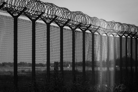 Barbed wire - restricted area, beacon of hope. Black and white photo