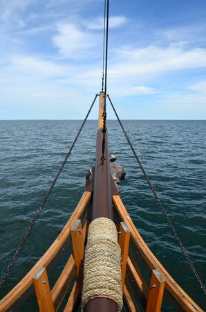ship bow: View to the sea from the bow of sailing ship Stock Photo