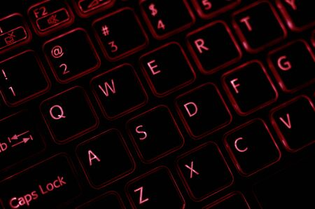 highlighting: Computer keyboard with red highlighting focused on W A S D buttons