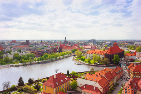 Panorama of Wroclaw historical old town. View to Oder river 版權商用圖片
