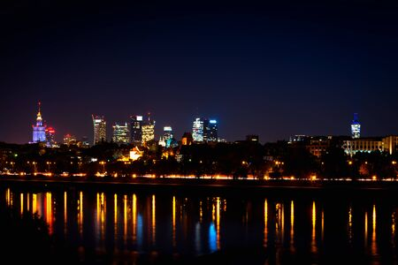 Night panorama of Warsaw city, Poland. Famous skyscrapers of Warsaw.