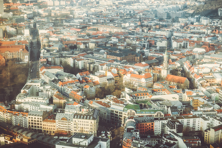Aerial view of Berlin city at sunrise, Germany. Picturesque view of Berlin from television tower