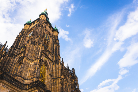 St. Vitus Cathedral in Prague with beautiful sky at background
