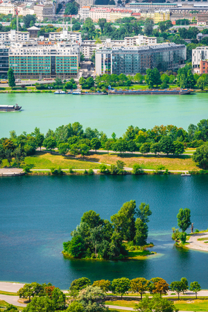 Danube river and New Danube canal with different color of water in Vienna