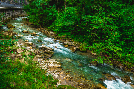 Highland river along the mountain road. Nature landscape 写真素材