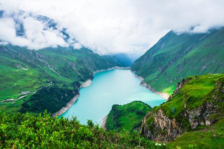 Wasserfallboden reservoir in Alpine mountains. Beautiful mountain landscape