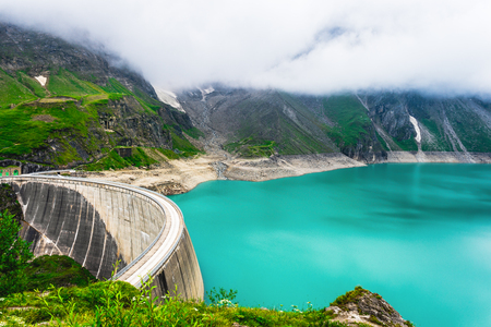 Beautiful landscape of Mooserboden reservoir near Kaprun, Austria. Alpine nature