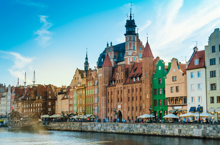 Gdansk, Poland - June 7, 2015: Old town in Gdansk at sunny summer day. Famous place of tourism in Poland