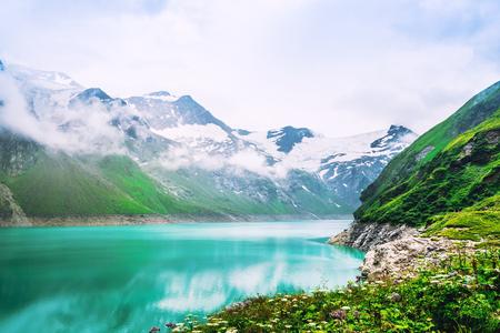 Nature landscape of Mooserboden reservoir in Alpine mountains 写真素材