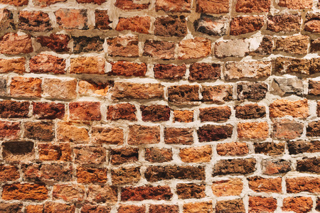 Red brick wall texture background; Old weathered wall background
