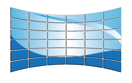 3D blue tv monitors Stock Vector - 7034529