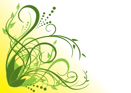 hoekversiering: groene en gele bloemen illustratie