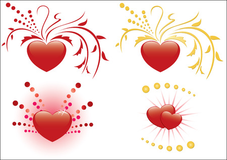 set of 4 illustrations of red hearts Vector