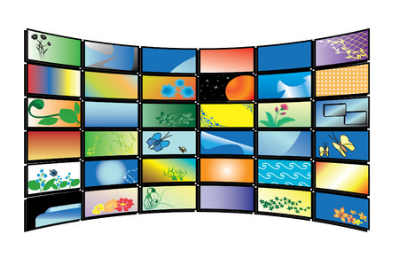 3D  color tv monitors Vector