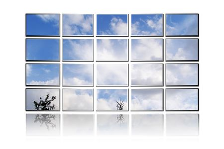Illustration of screen TV's showing image of a sky with clouds Stock Illustration - 7080427