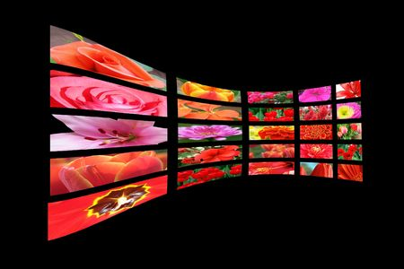 Color multidisplay  tv monitors with flower photo