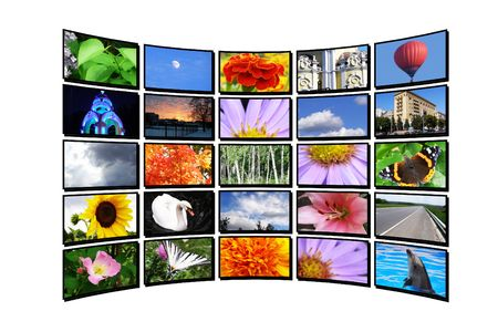 Color display on white wall, tv monitor Stock Photo - 7186481