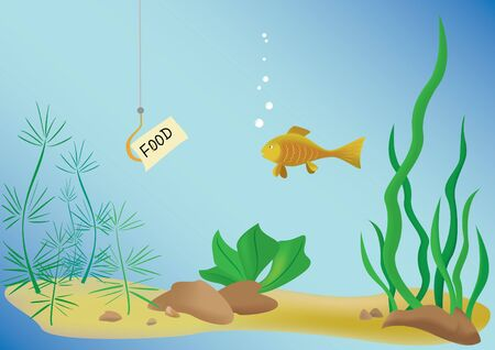 fishhook: illustration with fish and sea