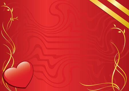 red card with heart and golden ribbons Vector