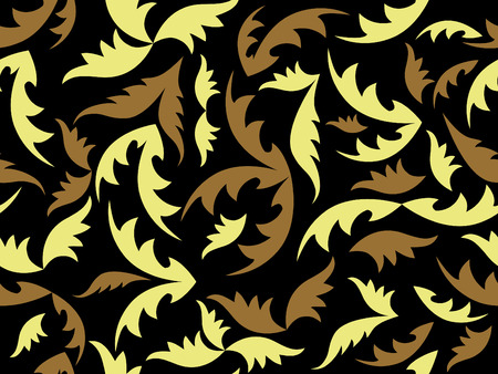 seamless black vector texture with leaves Vector