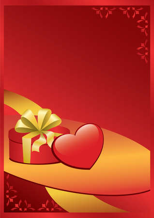 incarnadine: vector romantic card with gift and heart Illustration