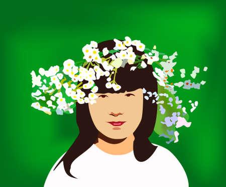 circlet: bambina con cerchietto di fiori    Vettoriali