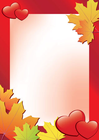 incarnadine: red autumn frame with hearts