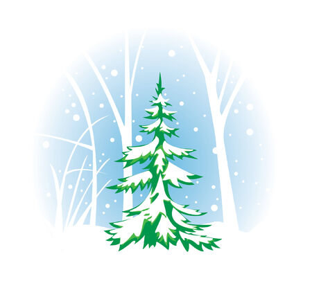 winter illustration with fir-tree Stock Vector - 7949085