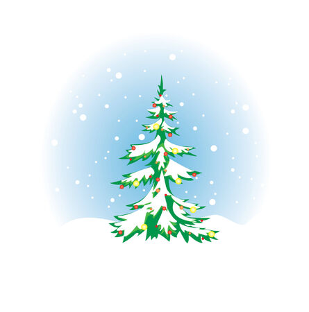 winterly:  Christmas tree with snow and decoration  Illustration