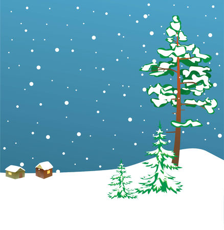 winterly: winter card with firs Illustration